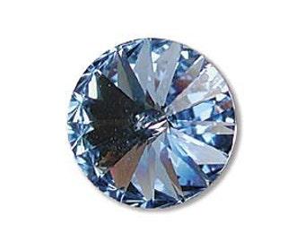 LIGHT SAPPHIRE Swarovski Rivoli Crystal Elements 12mm Qty 2 Foiled Light Baby Blue Rivolis