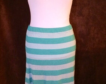 Teal and silver knit maxi skirt