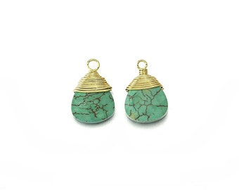 Turquoise Gemstone Pendant . Jewelry Craft Supplies . 16K Polished Gold Plated over Brass / 2 ...