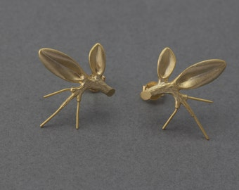 Branch Post Earring . Earring Component . 16K Matte Gold Plated over Brass  / 2 Pcs - GC076-MG