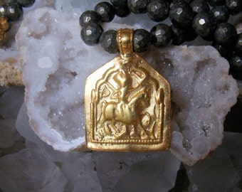 Old Gold Tribal Rajasthani Pendant Necklace with Faceted Pyrite