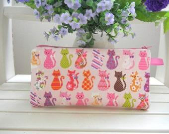 Cat Pencil case, Clutch, Zipper pouch, Cosmetic pouch, Pink