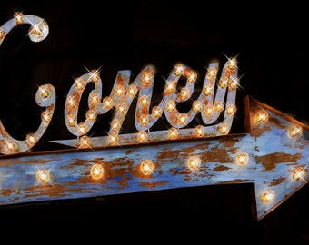 Marquee Letter, Lighted Metal MARQUEE SIGN, Marquee Light Fixture, Custom Marquee Sign, Marquee letter: Arrow Marquee