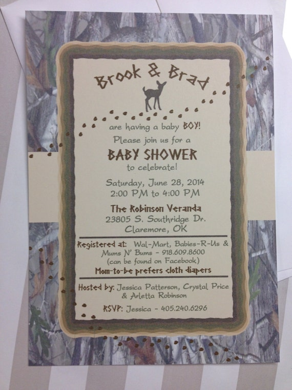 hunting theme baby shower invitation outdoor theme deer camo on