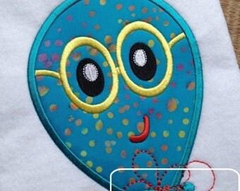 Boy Balloon with Eyeglasses Appliqué embroidery Designs - birthday appliqué design - balloon appliqué design