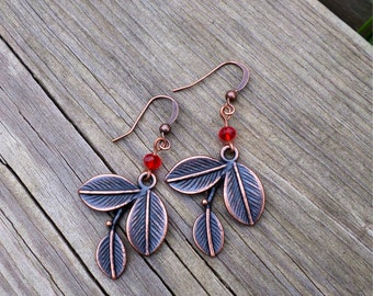 Copper Olive Branch Earrings