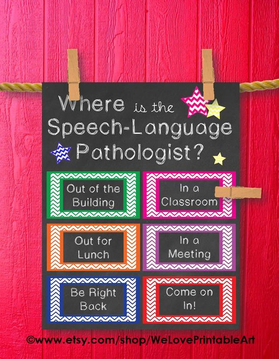 Speech Language Pathologish SLP Therapy Door Decoration Teacher Gift Classroom Decor Gifts for Teachers Back to School Printable