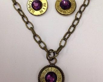 9mm bullet ammo jewelry birthstone necklace earrings February Amethyst Birthstone LSU colors