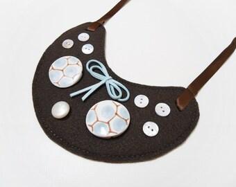 Felt bib necklace, Ceramic bib necklace, Bow bib necklace, Brown bib necklace, Ribbon bib necklace, Handmade bib necklace