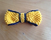 Hand Knit Seed Stitch Navy-Lined Bow Tie - Boys/Toddler/Baby