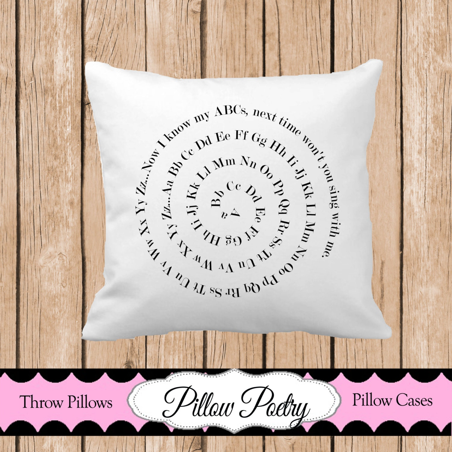 Decorative Pillows With Washable Covers : ABC Spiral Throw Pillow Washable Throw Pillow Nursery Throw