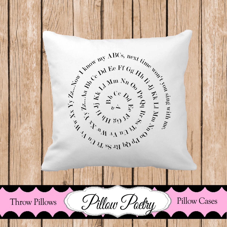 ABC Spiral Throw Pillow Washable Throw Pillow Nursery Throw