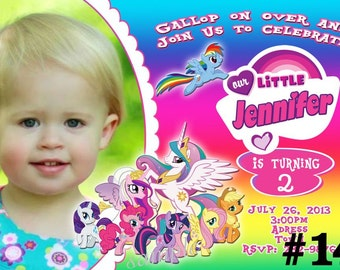My Little Pony Invitation with Photo / You Print Digital File Birthday Invitation Printable