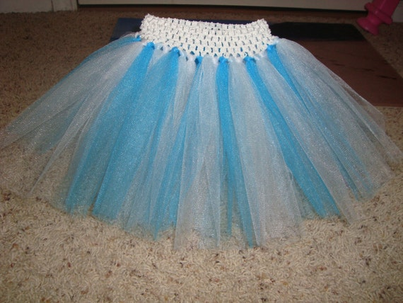 elsa inspired tutu skirt white or blue waistband teal light