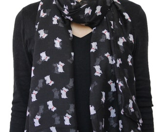 Animal  Little Hound Cute Westie Dog Scarf /Scottie Dog/ Scotty Dog /Scottish Terrier Pet Print Gauzy Voile Scarf Black
