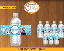 INSTANT DOWNLOAD - Printable Frozen Water Bottle Labels -Disney Frozen Water Bottle Labels -  Frozen Birthday - Frozen Party Decor
