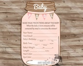 Girl Baby Shower Games, Girl Baby Pool Game, Mason jar, Shabby Chic, Elegant Simple Baby Shower, Baby Shower - Digital Printable: JPG File