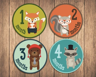 Monthly Baby Stickers, woodland animals baby month stickers, monthly baby stickers - Woodland Hipster