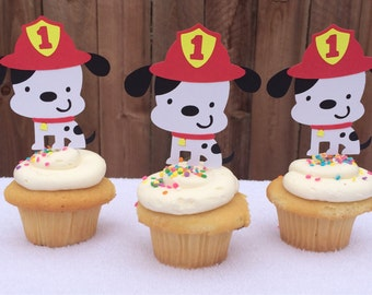 12 fire dog dalmation cupcake toppers