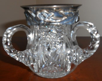 Antique Sterling Silver Ornate Rimmed Three Handled Glass Crystal