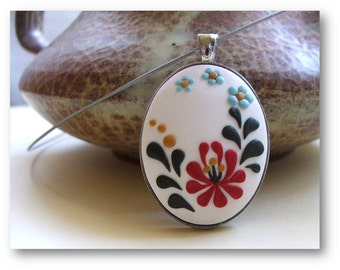 Folk Art Jewelry, Tulip Flower Necklace, Polymer Clay Necklace, Hungarian Folk Art Jewelry, MADE TO ORDER