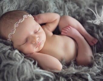 BABY PEARL TIEBACK, mauve, ivory pearl, tieback, baby photo prop, baby prop, newborn prop, flower halo, headband, photography prop