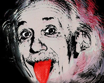 Albert Einstein and Tongue - Giclee Print
