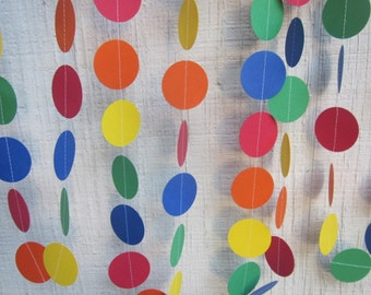 Rainbow Paper Circles Garland,  Childrens Birthday Garland, Wedding Garland, Baby Shower Garland, Photo Prop, Art Party, Backdrop