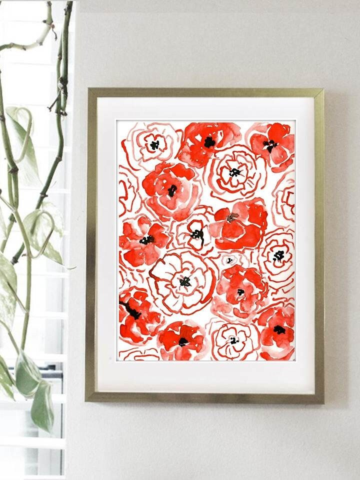 Playful Poppies Print From Original Watercolor Painting Home Decor Kitchen Art Poppy Floral