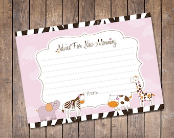 Jacana Jungle Animals Baby Shower Advice Card