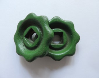 Vintage Valve Knobs, Industrial Water Faucet Knobs. Repurposed Dresser Drawer Pulls 1940's Green Cast Iron Valve Handles, Sold in Sets of  2