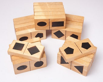 Geometric shape dominoes, eco friendly toy, kids wooden toys, waldorf