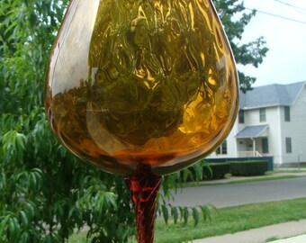 Large Mid Century Modern Empoli Amber Topaz Vase Italian Murano Hand Blown Art Glass Perfect Italy