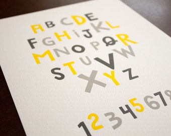Alphabet and Numbers 8 x 10 Letterpress Print - Yellow