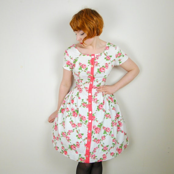 50s pink ROSE print dress ROMANTIC dainty SUMMER rockabilly floral mid century 1950s skirted swing dress uk14 M