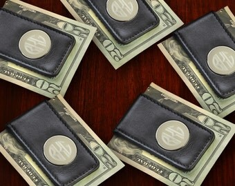 Set of 5 - Personalized Leather Money Clips - Groomsmen Gifts - Engraved Magnetic Money Clip Set - RO1042X5
