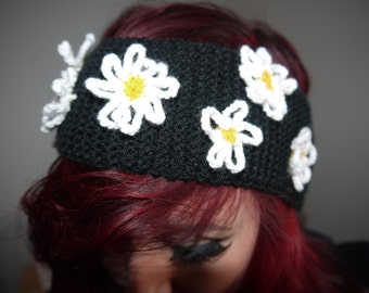 knitted daisy ear warmer headband