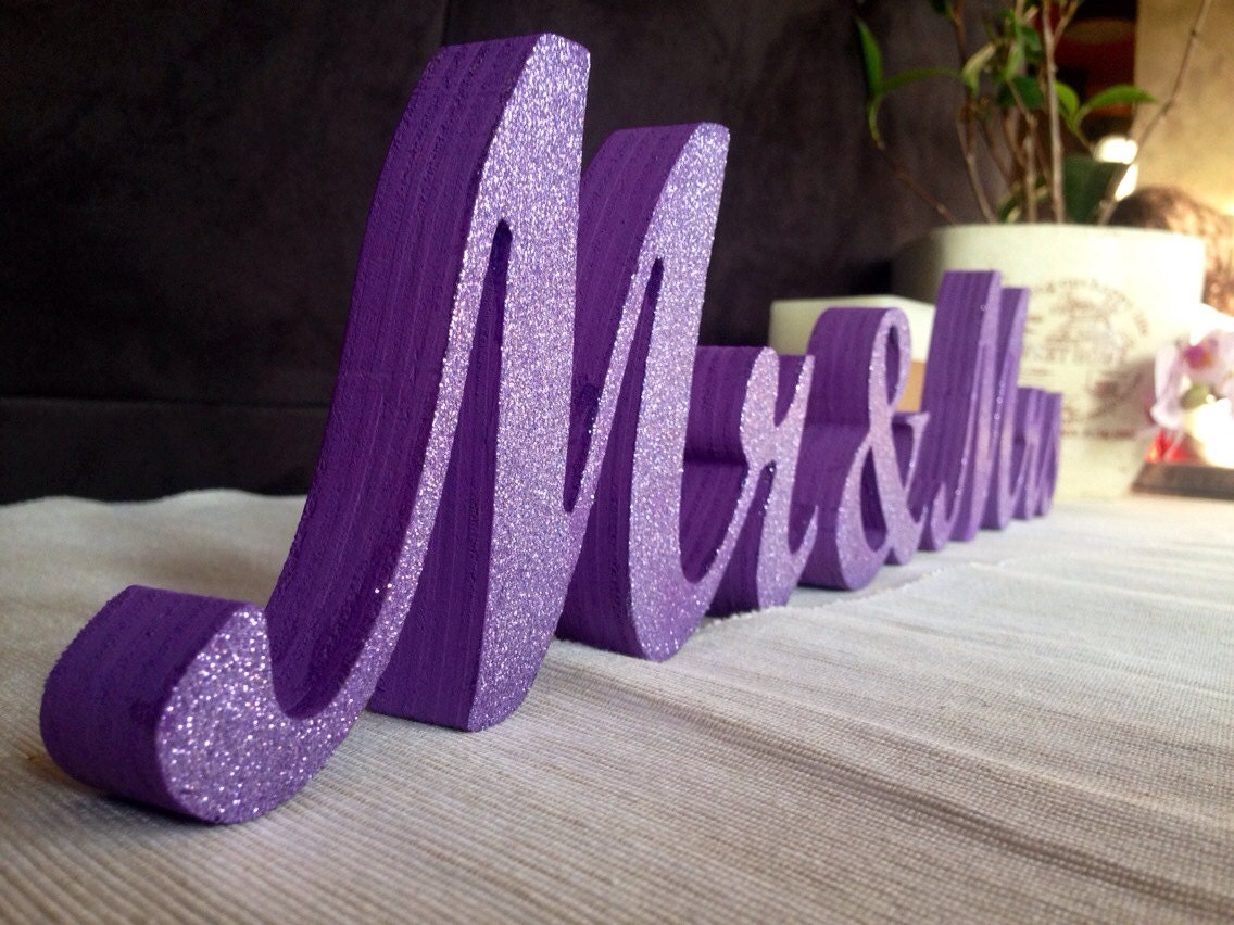 Purple Glitter Mr. & Mrs. Letters Wedding Table By SunFla