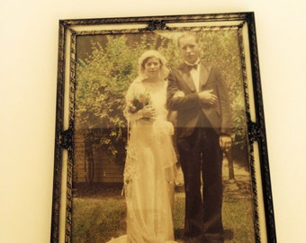 Antique Framed Colorized Wedding Photograph