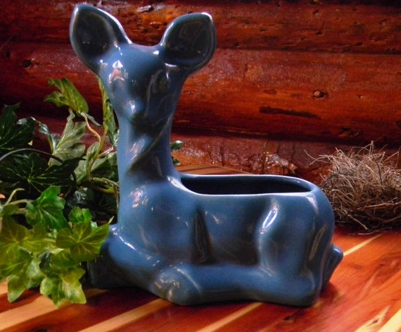 Vintage red wing pottery rare blue deer by thewanderingbear