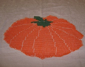crocheted doily pumpkin