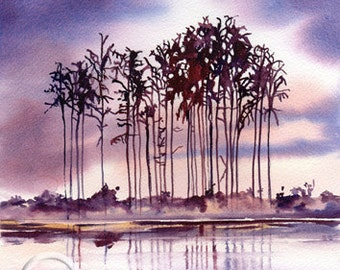 SCOTTISH LOCH & CONIFERS  Art Print Of Original Watercolour Painting from Scottish Artist.