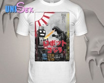 Tokyo T-shirt Tin Robot Tshirt Godzilla Top Fashionable Toy Tee Colourful Japanese Cult Movie Film White S-XXL Shirt