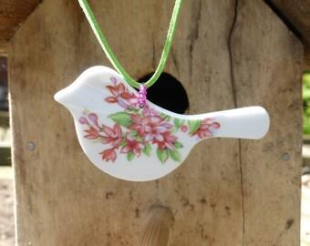 vintage china bird pendant - bird pendant - upcycled china - eco jewellery - reused china - broken plate jewellery