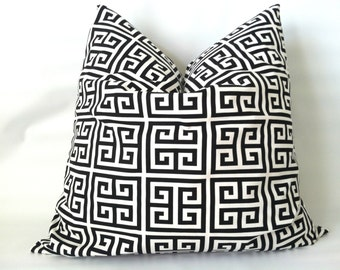 Black and White Pillow Cover - 20 x 20, One, Geometric Greek Key, Black & White Pillow, Black Pillows, Black Cushion Covers, Modern