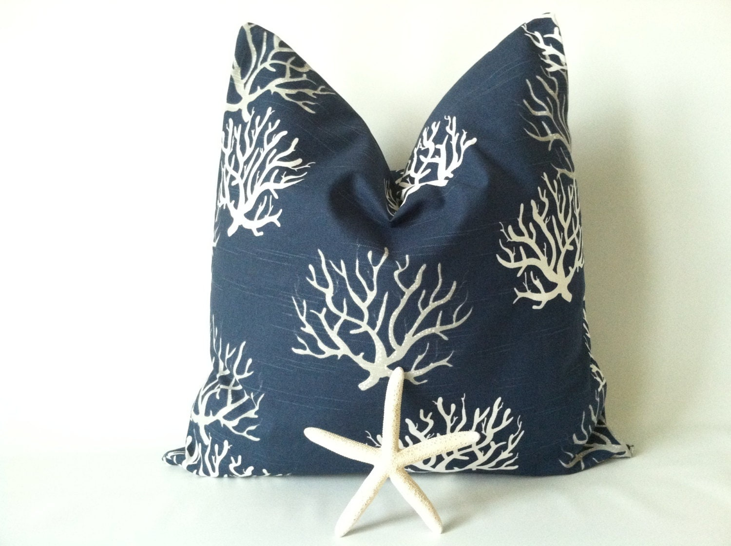 nautical navy pillow cover 20 x 20 one beach by theseafoamcottage. Black Bedroom Furniture Sets. Home Design Ideas