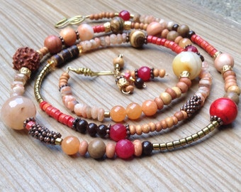 Red and orange gemstones long beaded necklace free shipping