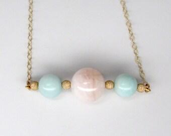 gold morganite necklace, amazonite necklace, genuine pink morganite, natural apple green amazonite, gold sparkle balls, beryl bib necklace