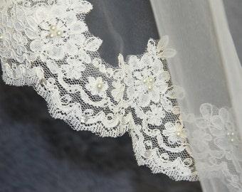 Wedding Veil, Bridal Veil, cathedral veil, Alencon Lace veil 3 meters veil, white veil, ivory veil, hand-beaded veil pearl sequins veil veil