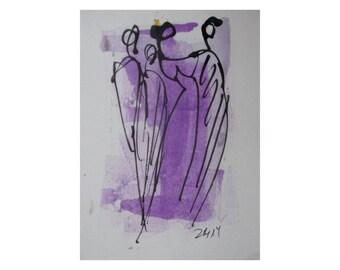 Frauen - Original Zeichnung auf Künstlerpapier -21x14cm  mit Bambusfeder - farbige Tuschen-violett  - kostenloser Versand